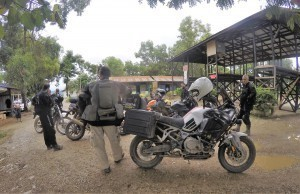 This is one of the biggest Myanmar military checkpoints we came across on this Myanmar motorcycle tour.