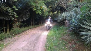 riding to the campsite in Thailand