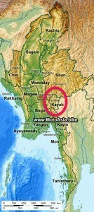 A map of Kayah state for a Myanmar motorcycle tour