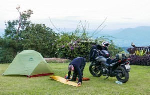 Superb views while camping by motorcycle
