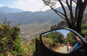 Riding a motorcycle to the terraced rice fields of Yunnan