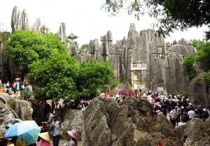 China motorcycle tour heads to the Stone Forest in Yunnan, China